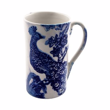 Picture of MUG CONICO H13CM DEC. PAVONE F.DO BIANCO
